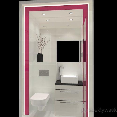 projekt-łazienki-projektowanie-wnętrz-lublin-perspektywa-studio-łazienka-nowoczesna-4-m2-biel-plus-różowy-lacobel-fuksja-prysznic-bez-brodzika-z-odwodnieniem-liniowym-wneki-Rosa-1