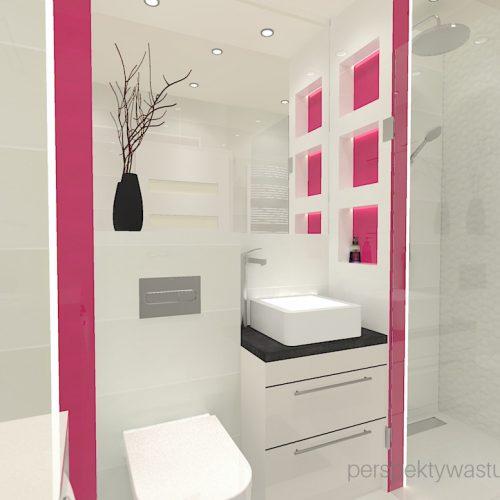 projekt-łazienki-projektowanie-wnętrz-lublin-perspektywa-studio-łazienka-nowoczesna-4-m2-biel-plus-różowy-lacobel-fuksja-prysznic-bez-brodzika-z-odwodnieniem-liniowym-wneki-Rosa-3