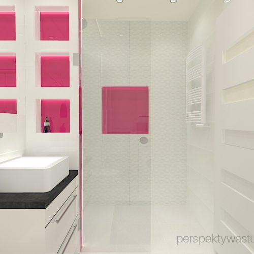 projekt-łazienki-projektowanie-wnętrz-lublin-perspektywa-studio-łazienka-nowoczesna-4-m2-biel-plus-różowy-lacobel-fuksja-prysznic-bez-brodzika-z-odwodnieniem-liniowym-wneki-Rosa-4