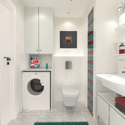 projekt-łazienki-projektowanie-wnętrz-lublin-perspektywa-studio-łazienka-nowoczesna-biała-kolorowy-dekor-4m2-płytki-brodzik-Vivida-3