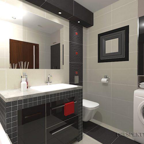 projekt-łazienki-projektowanie-wnętrz-lublin-perspektywa-studio-łazienka-nowoczesna-biały-czarny-czerwone-akcenty-4m2-wanna-w-zabudowie-Lavitas-2