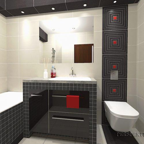 projekt-łazienki-projektowanie-wnętrz-lublin-perspektywa-studio-łazienka-nowoczesna-biały-czarny-czerwone-akcenty-4m2-wanna-w-zabudowie-Lavitas-4