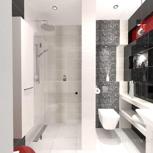 projekt-łazienki-projektowanie-wnętrz-lublin-perspektywa-studio-łazienka-nowoczesna-biały-czarny-czerwony-4m2-kabina-bez-brodzika-Vampa-1