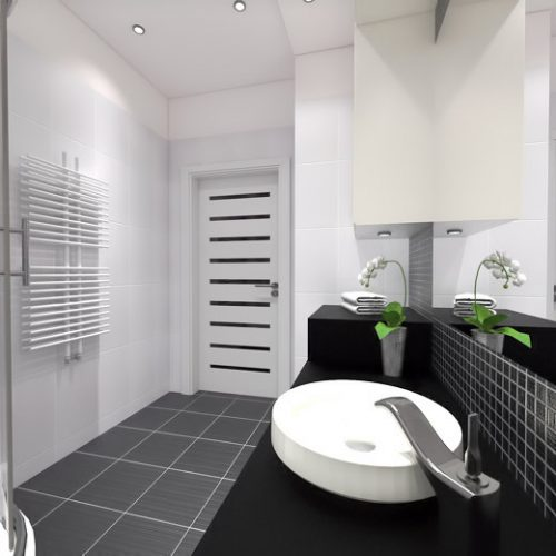 projekt-łazienki-projektowanie-wnętrz-lublin-perspektywa-studio-łazienka-nowoczesna-czarno-biała-motywy-kwiatowe-4m2-kabina-narożna-Black-&-White-1