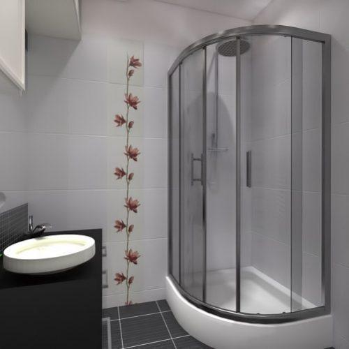 projekt-łazienki-projektowanie-wnętrz-lublin-perspektywa-studio-łazienka-nowoczesna-czarno-biała-motywy-kwiatowe-4m2-kabina-narożna-Black-&-White-2