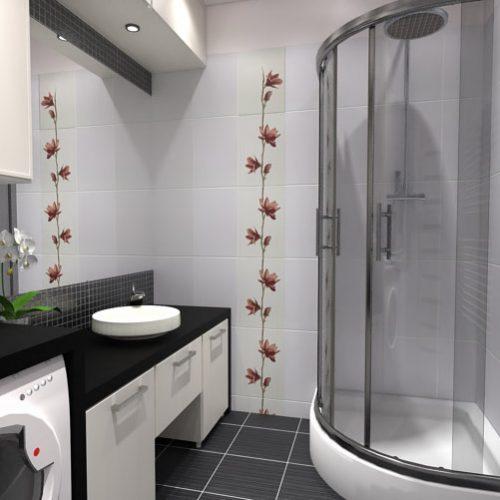 projekt-łazienki-projektowanie-wnętrz-lublin-perspektywa-studio-łazienka-nowoczesna-czarno-biała-motywy-kwiatowe-4m2-kabina-narożna-Black-&-White-3