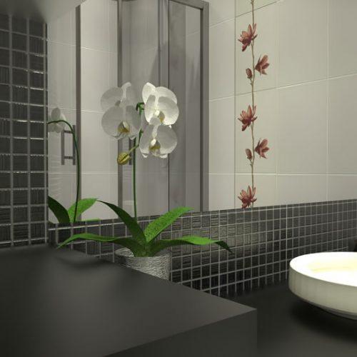 projekt-łazienki-projektowanie-wnętrz-lublin-perspektywa-studio-łazienka-nowoczesna-czarno-biała-motywy-kwiatowe-4m2-kabina-narożna-Black-&-White-5
