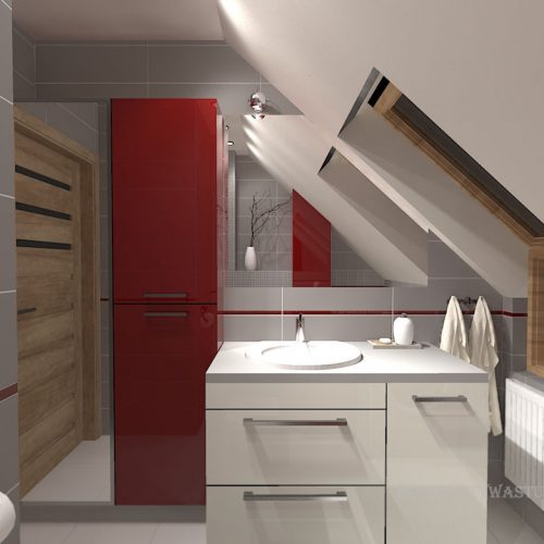 projekt-łazienki-projektowanie-wnętrz-lublin-perspektywa-studio-łazienka-nowoczesna-poddasze-sazrość-czerwień-5m2-lacobel-Midian-Purio-1