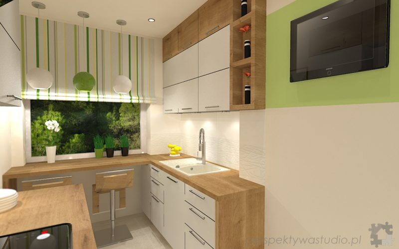 projekt-kuchni-projektowanie-wnętrz-lublin-perspektywa-studio-kuchnia-mała-7m2-z-mijscem-do-jedzenia-tv-w-kuchni-Kwiat-paproci-2