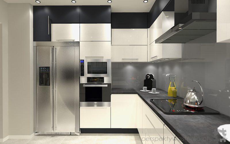 projekt-kuchni-projektowanie-wnętrz-lublin-perspektywa-studio-kuchnia-minimalistyczna-nowoczesna-fronty-bez-uchwytów-W-czarnej-obwódce-2