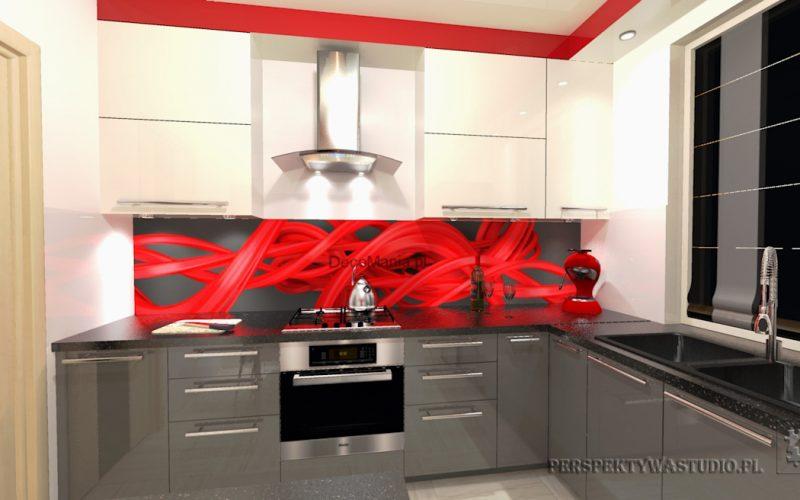 projekt-kuchni-projektowanie-wnętrz-lublin-perspektywa-studio-kuchnia-nowoczesna-cerwone-fronty-lakierowane-nadruk-na-szkle-Czerwona-wstęga-1