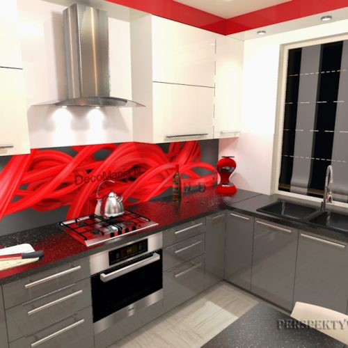 projekt-kuchni-projektowanie-wnętrz-lublin-perspektywa-studio-kuchnia-nowoczesna-cerwone-fronty-lakierowane-nadruk-na-szkle-Czerwona-wstęga-2