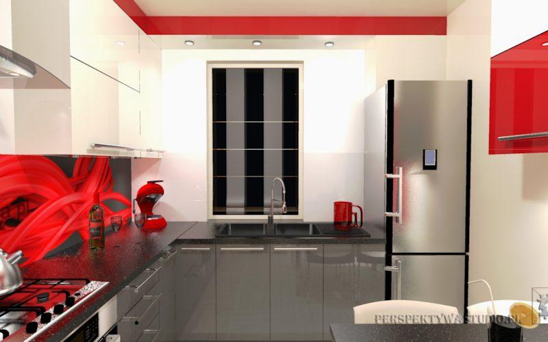projekt-kuchni-projektowanie-wnętrz-lublin-perspektywa-studio-kuchnia-nowoczesna-cerwone-fronty-lakierowane-nadruk-na-szkle-Czerwona-wstęga-4