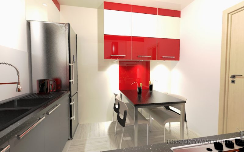 projekt-kuchni-projektowanie-wnętrz-lublin-perspektywa-studio-kuchnia-nowoczesna-cerwone-fronty-lakierowane-nadruk-na-szkle-Czerwona-wstęga-6