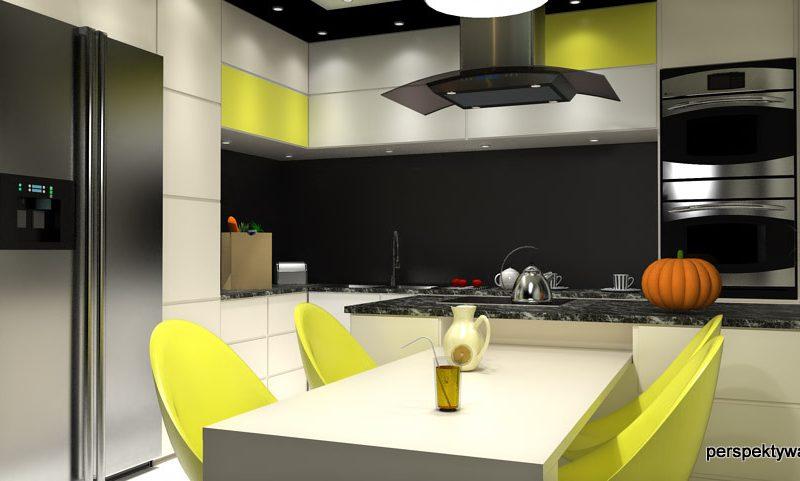 projekt-kuchni-projektowanie-wnętrz-lublin-perspektywa-studio-kuchnia-nowoczesna-czarny-lacobel-Pumpkin-Jellow-2
