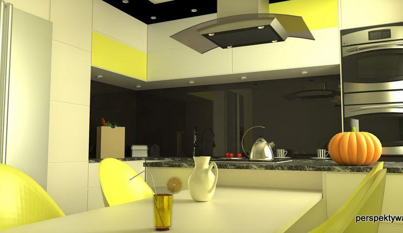 projekt-kuchni-projektowanie-wnętrz-lublin-perspektywa-studio-kuchnia-nowoczesna-czarny-lacobel-Pumpkin-Jellow-3