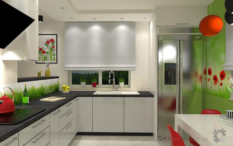 projekt-kuchni-projektowanie-wnętrz-lublin-perspektywa-studio-kuchnia-nowoczesna-lodówka-side-by-side-barek-wysoki-piekarnik-Makowa-panienka-1