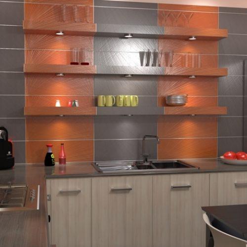 projekt-kuchni-projektowanie-wnętrz-lublin-perspektywa-studio-kuchnia-nowoczesna-tatapeta-pomarańczowo-szara-Strelicja-1