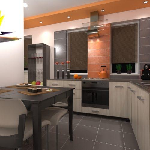 projekt-kuchni-projektowanie-wnętrz-lublin-perspektywa-studio-kuchnia-nowoczesna-tatapeta-pomarańczowo-szara-Strelicja-2