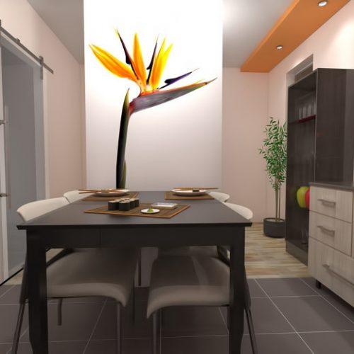 projekt-kuchni-projektowanie-wnętrz-lublin-perspektywa-studio-kuchnia-nowoczesna-tatapeta-pomarańczowo-szara-Strelicja-3