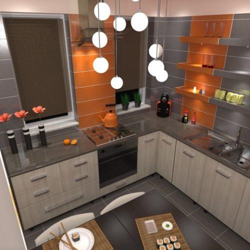 projekt-kuchni-projektowanie-wnętrz-lublin-perspektywa-studio-kuchnia-nowoczesna-tatapeta-pomarańczowo-szara-Strelicja-4