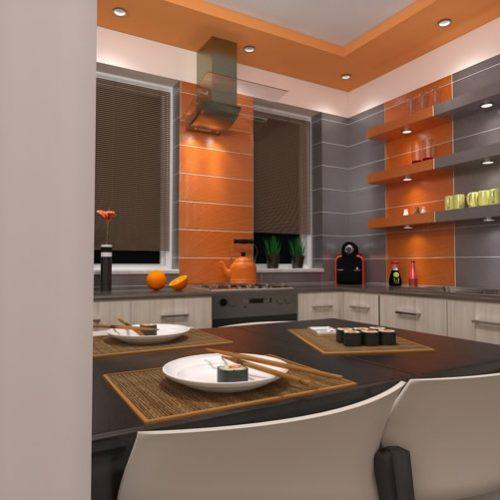 projekt-kuchni-projektowanie-wnętrz-lublin-perspektywa-studio-kuchnia-nowoczesna-tatapeta-pomarańczowo-szara-Strelicja-5