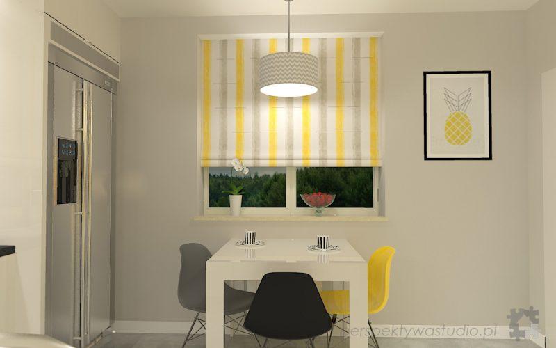 projekt-kuchni-projektowanie-wnętrz-lublin-perspektywa-studio-kuchnia-nowoczesna-z-żółtym-fronty-lakierowane-połysk-lodówka-side-by-side-Kosztela-2