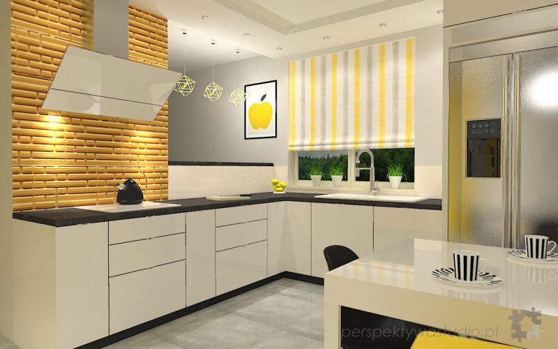 projekt-kuchni-projektowanie-wnętrz-lublin-perspektywa-studio-kuchnia-nowoczesna-z-żółtym-fronty-lakierowane-połysk-lodówka-side-by-side-Kosztela-3