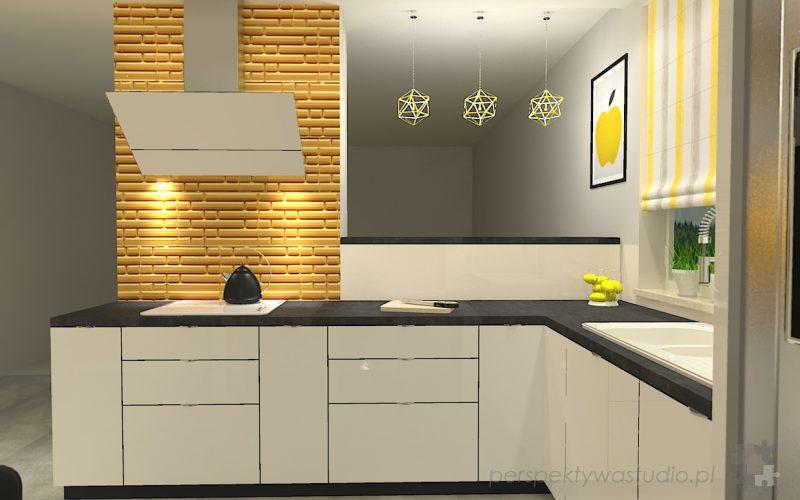 projekt-kuchni-projektowanie-wnętrz-lublin-perspektywa-studio-kuchnia-nowoczesna-z-żółtym-fronty-lakierowane-połysk-lodówka-side-by-side-Kosztela-4