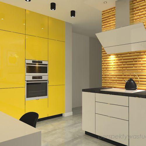 projekt-kuchni-projektowanie-wnętrz-lublin-perspektywa-studio-kuchnia-nowoczesna-z-żółtym-fronty-lakierowane-połysk-lodówka-side-by-side-Kosztela-5