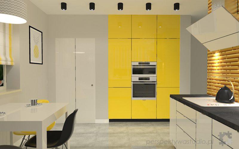 projekt-kuchni-projektowanie-wnętrz-lublin-perspektywa-studio-kuchnia-nowoczesna-z-żółtym-fronty-lakierowane-połysk-lodówka-side-by-side-Kosztela-6