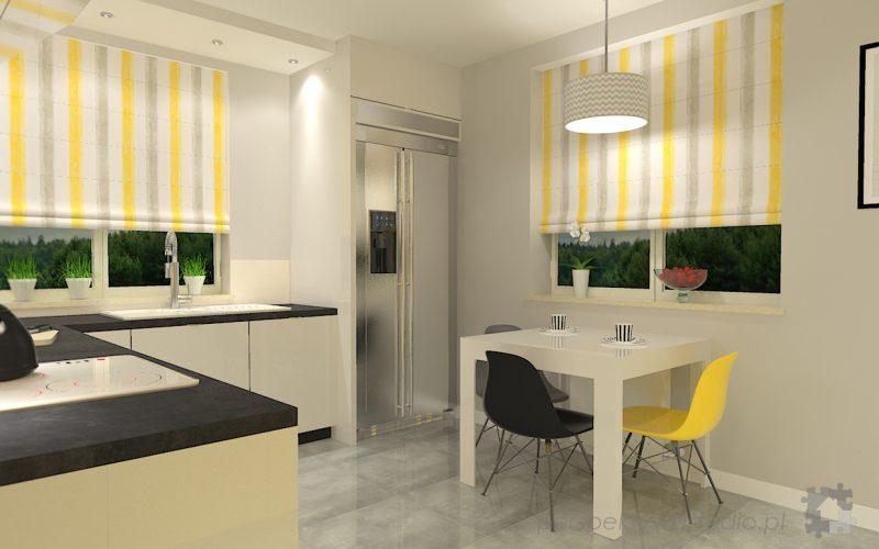 projekt-kuchni-projektowanie-wnętrz-lublin-perspektywa-studio-kuchnia-nowoczesna-z-żółtym-fronty-lakierowane-połysk-lodówka-side-by-side-Kosztela-7