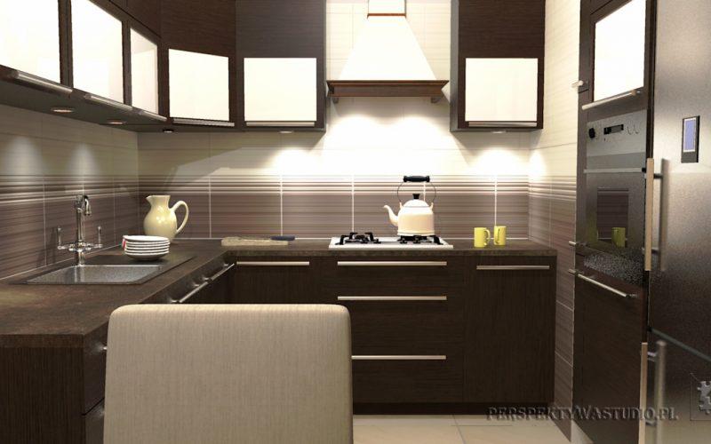 projekt-kuchni-projektowanie-wnętrz-lublin-perspektywa-studio-kuchnia-tradycyjna-fronty-drewniane-Czekolada-96%-2