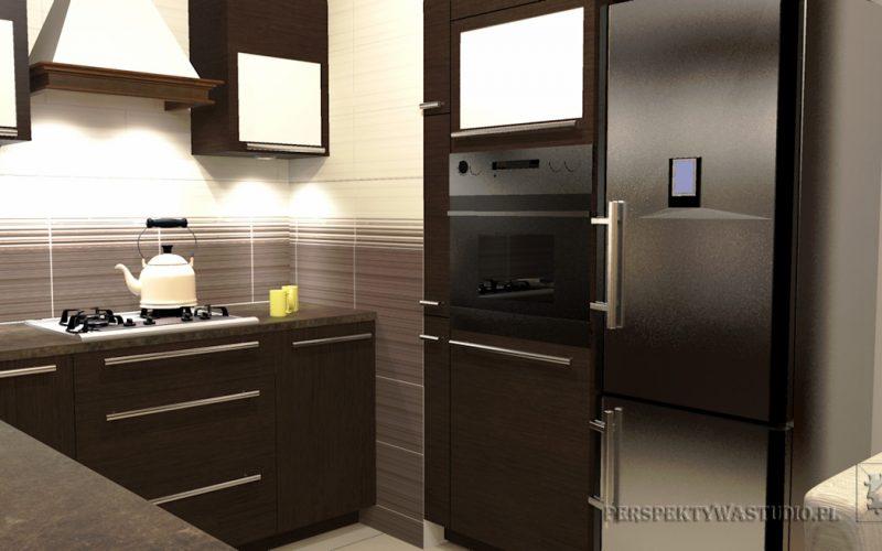 projekt-kuchni-projektowanie-wnętrz-lublin-perspektywa-studio-kuchnia-tradycyjna-fronty-drewniane-Czekolada-96%-4