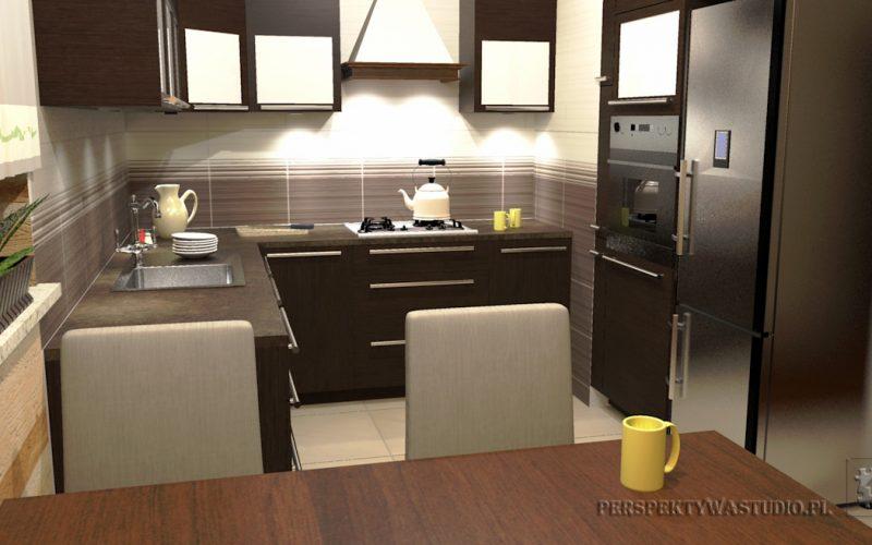 projekt-kuchni-projektowanie-wnętrz-lublin-perspektywa-studio-kuchnia-tradycyjna-fronty-drewniane-Czekolada-96%-6