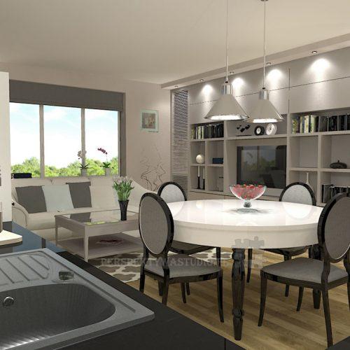 projekt-kuchni-salonu-projektowanie-wnętrz-lublin-perspektywa-studio-kuchnia-klasyczna-angielska-lodówka-side-by-side-salon-meblościanka-jadalnia-Sielsko-angielsko-4