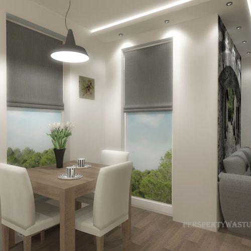 projekt-kuchni-salonu-projektowanie-wnętrz-lublin-perspektywa-studio-kuchnia-nowoczesna-białe-fronty-lakierowane-drewno-jadalnia-salon-w-bloku-fototapeta-Zielona-arkada-1