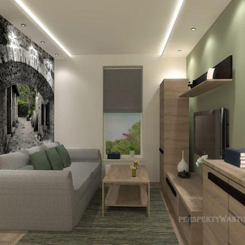 projekt-kuchni-salonu-projektowanie-wnętrz-lublin-perspektywa-studio-kuchnia-nowoczesna-białe-fronty-lakierowane-drewno-jadalnia-salon-w-bloku-fototapeta-Zielona-arkada-3