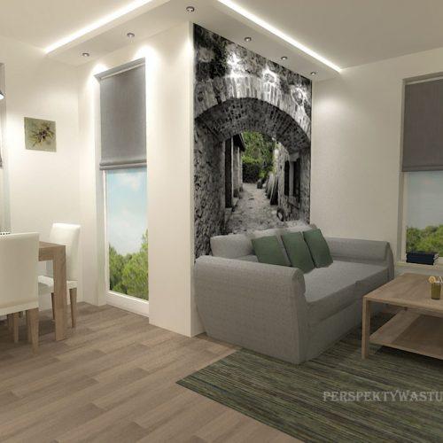 projekt-kuchni-salonu-projektowanie-wnętrz-lublin-perspektywa-studio-kuchnia-nowoczesna-białe-fronty-lakierowane-drewno-jadalnia-salon-w-bloku-fototapeta-Zielona-arkada-4