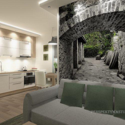 projekt-kuchni-salonu-projektowanie-wnętrz-lublin-perspektywa-studio-kuchnia-nowoczesna-białe-fronty-lakierowane-drewno-jadalnia-salon-w-bloku-fototapeta-Zielona-arkada-5