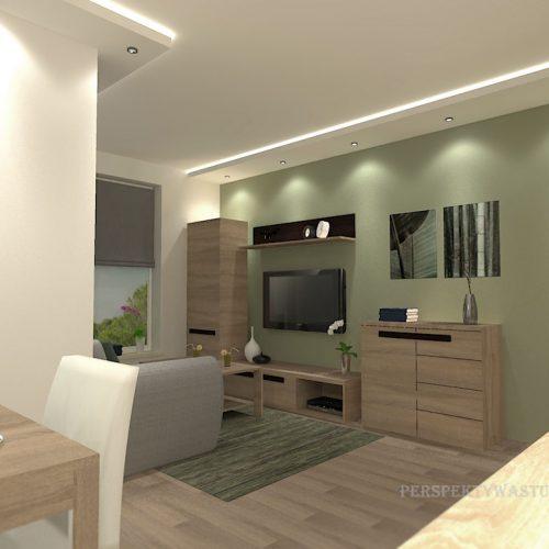 projekt-kuchni-salonu-projektowanie-wnętrz-lublin-perspektywa-studio-kuchnia-nowoczesna-białe-fronty-lakierowane-drewno-jadalnia-salon-w-bloku-fototapeta-Zielona-arkada-6