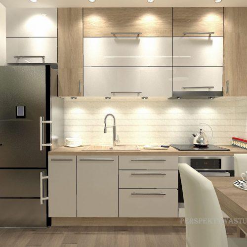 projekt-kuchni-salonu-projektowanie-wnętrz-lublin-perspektywa-studio-kuchnia-nowoczesna-białe-fronty-lakierowane-drewno-jadalnia-salon-w-bloku-fototapeta-Zielona-arkada-7