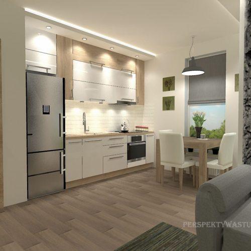 projekt-kuchni-salonu-projektowanie-wnętrz-lublin-perspektywa-studio-kuchnia-nowoczesna-białe-fronty-lakierowane-drewno-jadalnia-salon-w-bloku-fototapeta-Zielona-arkada-8
