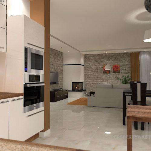 projekt-kuchni-salonu-projektowanie-wnętrz-lublin-perspektywa-studio-kuchnia-nowoczesna-białe-fronty-lakierowane-drewno-piekarnik-w-wysokiej-zabudowie-salon-łupek-kominek-narożny-Tulipan-2