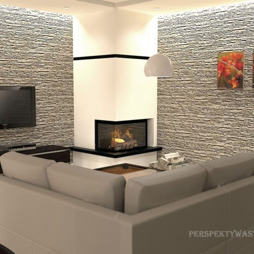 projekt-kuchni-salonu-projektowanie-wnętrz-lublin-perspektywa-studio-kuchnia-nowoczesna-białe-fronty-lakierowane-drewno-piekarnik-w-wysokiej-zabudowie-salon-łupek-kominek-narożny-Tulipan-6