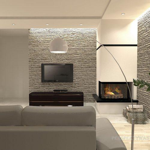 projekt-kuchni-salonu-projektowanie-wnętrz-lublin-perspektywa-studio-kuchnia-nowoczesna-białe-fronty-lakierowane-drewno-piekarnik-w-wysokiej-zabudowie-salon-łupek-kominek-narożny-Tulipan-7