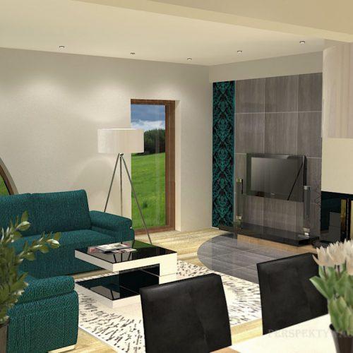 projekt-kuchni-salonu-projektowanie-wnętrz-lublin-perspektywa-studio-kuchnia-nowoczesna-białe-lakierowane-fronty-jadalnia-salon-nietypowe-okna-kominek-narożny-Lazurowe-Dmuchawce-1