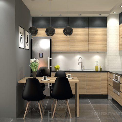 projekt-kuchni-salonu-projektowanie-wnętrz-lublin-perspektywa-studio-kuchnia-nowoczesna-fronty-drewniane-salon-morernizm-grafit-czerń-biokominek-Grafit-i-Cocco-bolo-1