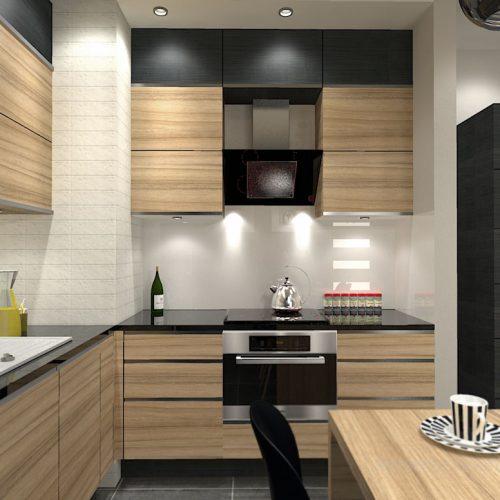projekt-kuchni-salonu-projektowanie-wnętrz-lublin-perspektywa-studio-kuchnia-nowoczesna-fronty-drewniane-salon-morernizm-grafit-czerń-biokominek-Grafit-i-Cocco-bolo-2