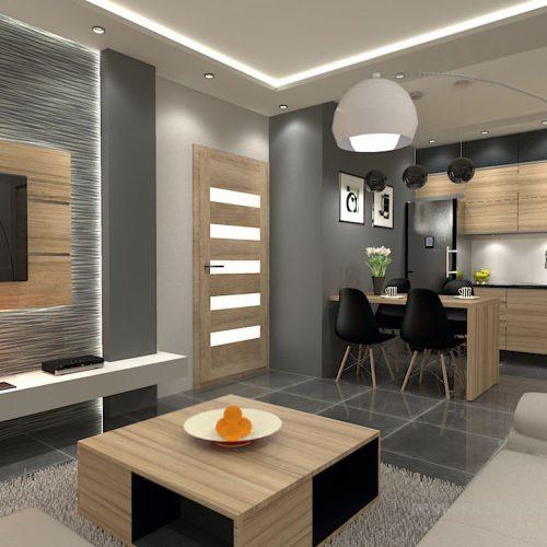 projekt-kuchni-salonu-projektowanie-wnętrz-lublin-perspektywa-studio-kuchnia-nowoczesna-fronty-drewniane-salon-morernizm-grafit-czerń-biokominek-Grafit-i-Cocco-bolo-3